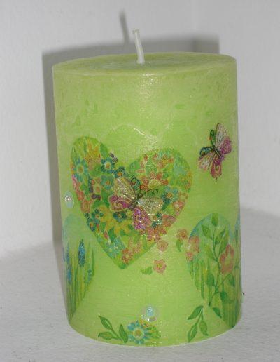 Kerze Serviettentechnik grün Herz