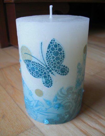 Kerze Serviettentechnik Schmetterling blau