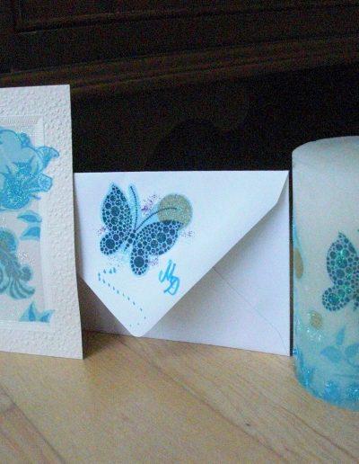 Kerze Serviettentechnik Schmetterling blau plus Karte