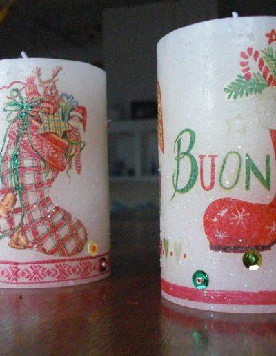 Kerze Serviettentechnik Weihnachten Stiefel