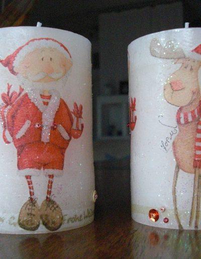Kerze Serviettentechnik Weihnachten Rentier Weihnachtsmann
